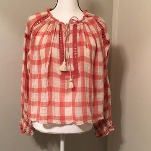 Free People | Plaid Boho style Top